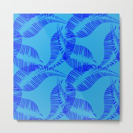 Pattern of blue halves of leaves on a blue background. Metal Print
