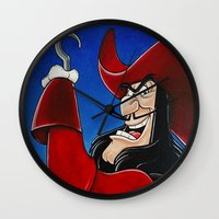 hook Wall Clocks featuring Hook by Laura-A