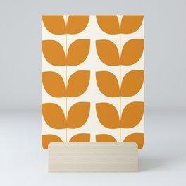 Mid Century Modern Leaves Orange Mini Art Print