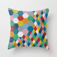 honeycomb Throw Pillows featuring Honeycomb by Project M