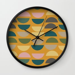 Geometric Graphic Design Shapes Pattern in Mustard Yellow Wall Clock