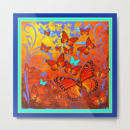 Decorative Orange Monarch  Butterflies with Yellow-Turquoise Metal Print