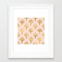 gold foil Framed Art Prints featuring Pink Gold Foil 02 by Aloke Design