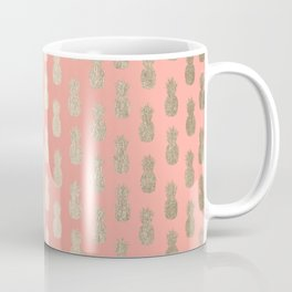 Gold Pineapples on Coral Pink Coffee Mug