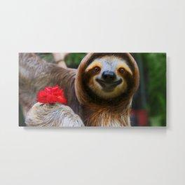 Happy sloth eating hibiscus flowers Metal Print