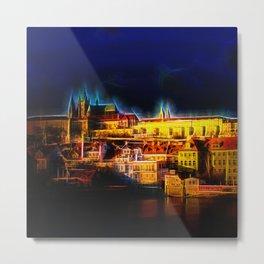Fractal Prague castle glow UV Metal Print