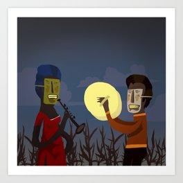 Masked Musicians Art Print