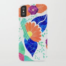 Modern watercolor coral blue purple floral pattern ilustration iPhone Case