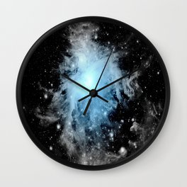Orion nebULa Black White Blue Space Wall Clock