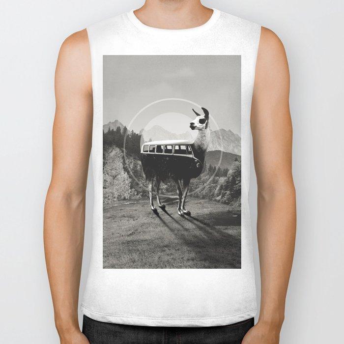 Llama B&W Biker Tank