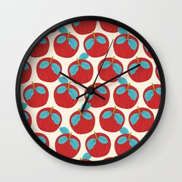 Fruity February Apples Wall Clock
