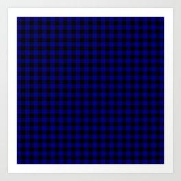 Navy Blue Buffalo Check Tartan Plaid - Blue and Black Art Print