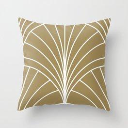 Round Series Floral Burst White on Gold Throw Pillow