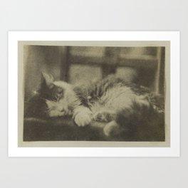 Grise, la chatte d'Auguste Vacquerie, écoutant Phèdre (Vacquerie, Auguste, 1853) Art Print