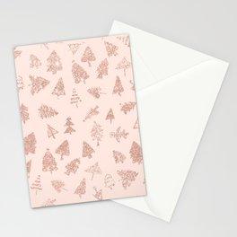 Modern rose gold glitter Christmas trees pattern on blush pink Stationery Cards