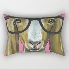 Goat with Glasses, Pink Goat Painting, Farm Animal Rectangular Pillow