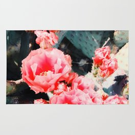 closeup blooming red cactus flower texture background Rug