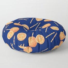 orange juice _ blue Floor Pillow