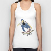 skateboard Tank Tops featuring Skateboard 1 by Aquamarine Studio