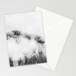 Foggy Ascent // Black and White Snowy Mountain Top Looking at the Trails through the Fog Stationery Cards