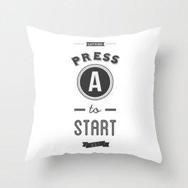 Press A to Start Throw Pillow