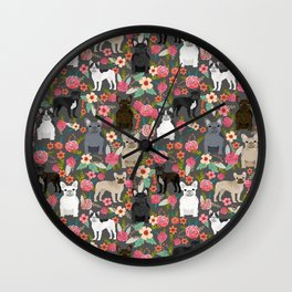 French Bulldog must have florals gifts dog breed pet lover frenchies forever Wall Clock