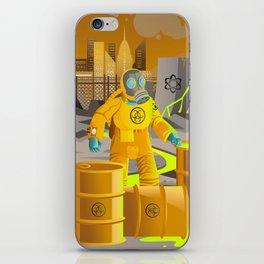 biohazard suit man with barrels near nuclear meltdown in powerplant iPhone Skin
