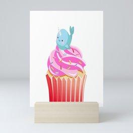 Cute Narwhal T-shirt Cupcake Lovers Tee Mini Art Print
