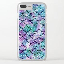 Mermaid Pattern - Aqua & Purple Glitter Texture Clear iPhone Case
