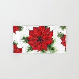 Poinsettia and fir branches pattern Hand & Bath Towel