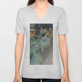 The Green Dancer - Edgar Degas Unisex V-Neck