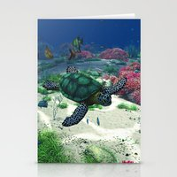 sea turtle Stationery Cards featuring Sea Turtle by Simone Gatterwe