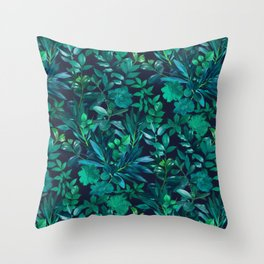 Nighttime Garden in Emerald and Teal Throw Pillow
