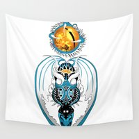 skyfall Wall Tapestries featuring Cosmic Skyfall Dragon by Pr0l0gue