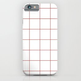 Graph Paper (Maroon & White Pattern) iPhone Case