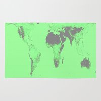 map of the world Area & Throw Rugs featuring World Map : Gall Peters Seafoam Green by 2sweet4words Designs