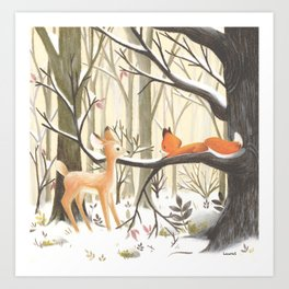 The little fox and the deer Art Print