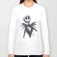 jack skellington Long Sleeve T-shirts featuring Jack Skellington scribble by Patricia Pedroso
