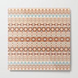 Aztec Stylized Pattern Blue Cream Terracottas Metal Print