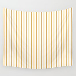 Marigold Yellow Pinstripe on White Wall Tapestry