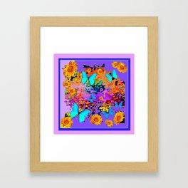 Lavender Art Blue Butterflies Floral Framed Art Print