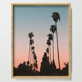 California Sunset // Palm Tree Silhouette Street View Orange and Blue Color Sky Beach Photography Serving Tray