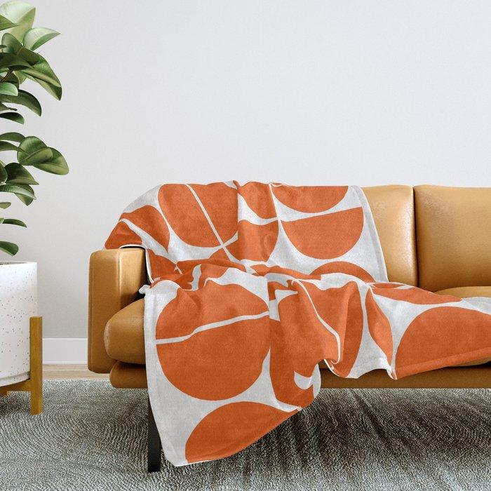 Mid Century Modern Geometric 04 Orange Throw Blanket