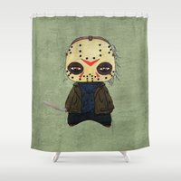 actor Shower Curtains featuring  A Boy - Jason ( Friday the 13th) by Christophe Chiozzi