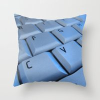 computer Throw Pillows featuring computer by laika in cosmos