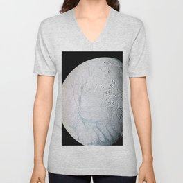 A masterpiece of deep time and wrenching gravity the tortured surface of Saturns moon Enceladus Unisex V-Neck