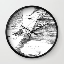 Vintage Cape Cod and NYC Steamboat Route Map BW Wall Clock