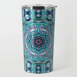 Blue ornament. Kaleidoscope. Travel Mug