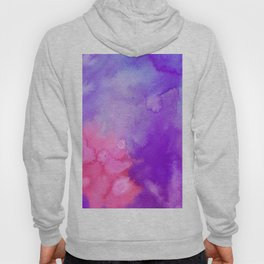 Pink blue violet abstract hand painted watercolor pattern Hoody