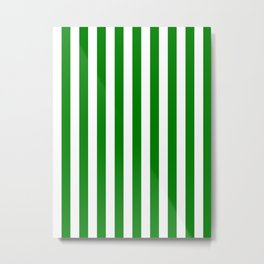 Narrow Vertical Stripes - White and Green Metal Print